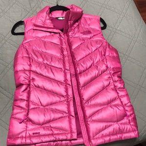 Neon pink North Face vest